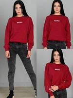 Женский свитшот толстовка кофта красная бордо принт Турция