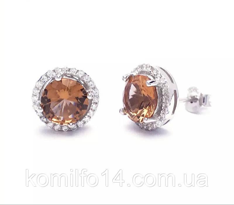Серебряные серьги-гвоздики(пусеты) с натуральным султанитом