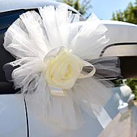 Качество! Свадебные пышные Банты 25 см на зеркала машины Комплект 2 шт, Шампань