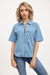 Рубашка женская джинсовая с карманом голубая 1916