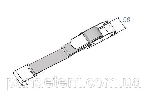 Замок( кламра) и ремень с плоским крюком ( нержавейка) для натяжки боковых штор полуприцепа, фото 2