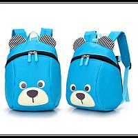 """Детский рюкзак """"Мишка"""" с ремешком и ремнем анти-потеряшкой Голубой"""