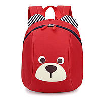 """Детский рюкзак """"Мишка"""" с ремешком и ремнем анти-потеряшкой Красный"""