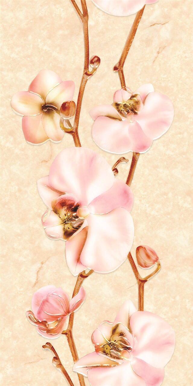 Панель пластиковая Орхидея бежевая  (декор)