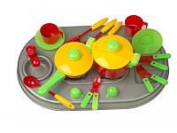 Детская кухня плита с мойкой и посудой Kinderway 04-409