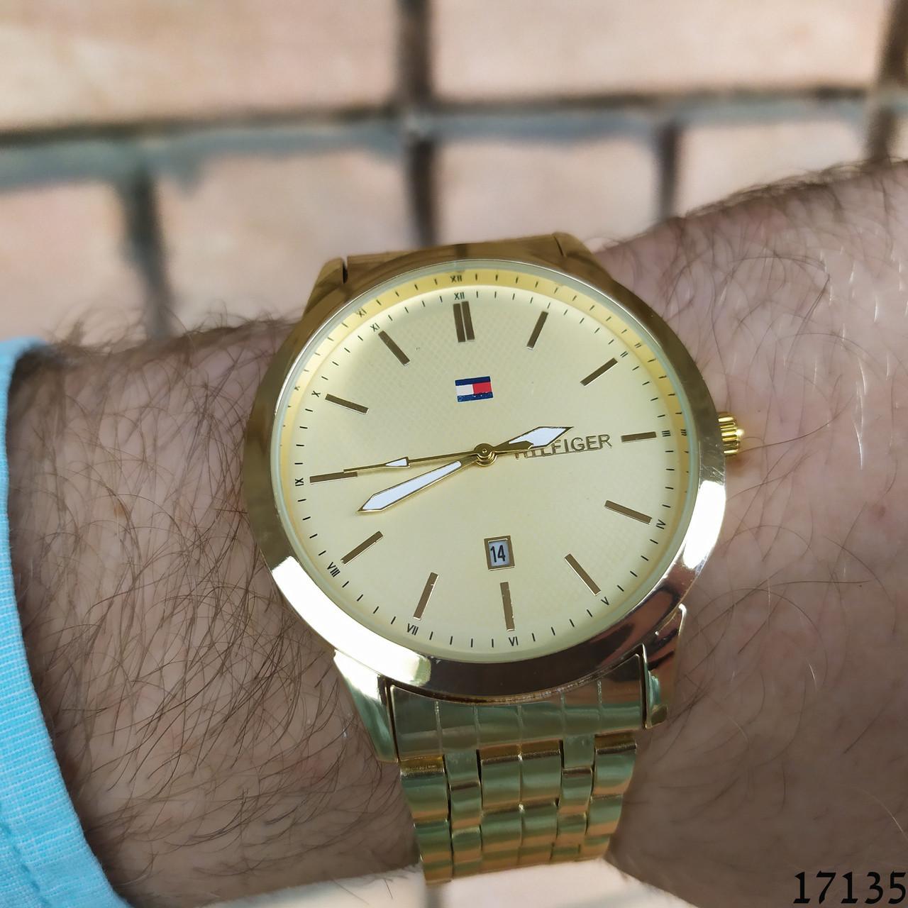 Мужские наручные часы золотые в стиле Tommy Hilfiger. Годинник чоловічий