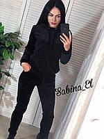 Стильный спортивный костюм, бархат люкс , 42-44, 46-48 рр, цвет черный, фото 1