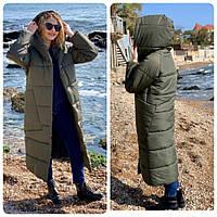 M500 Куртка кокон длинная зима 2020 в стиле одеяло M500 хаки / оливковый темно зеленый цвет