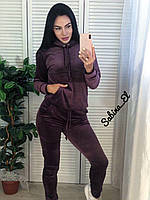 Стильный спортивный костюм, бархат люкс , 42-44, 46-48 рр, цвет фиолетовый, фото 1