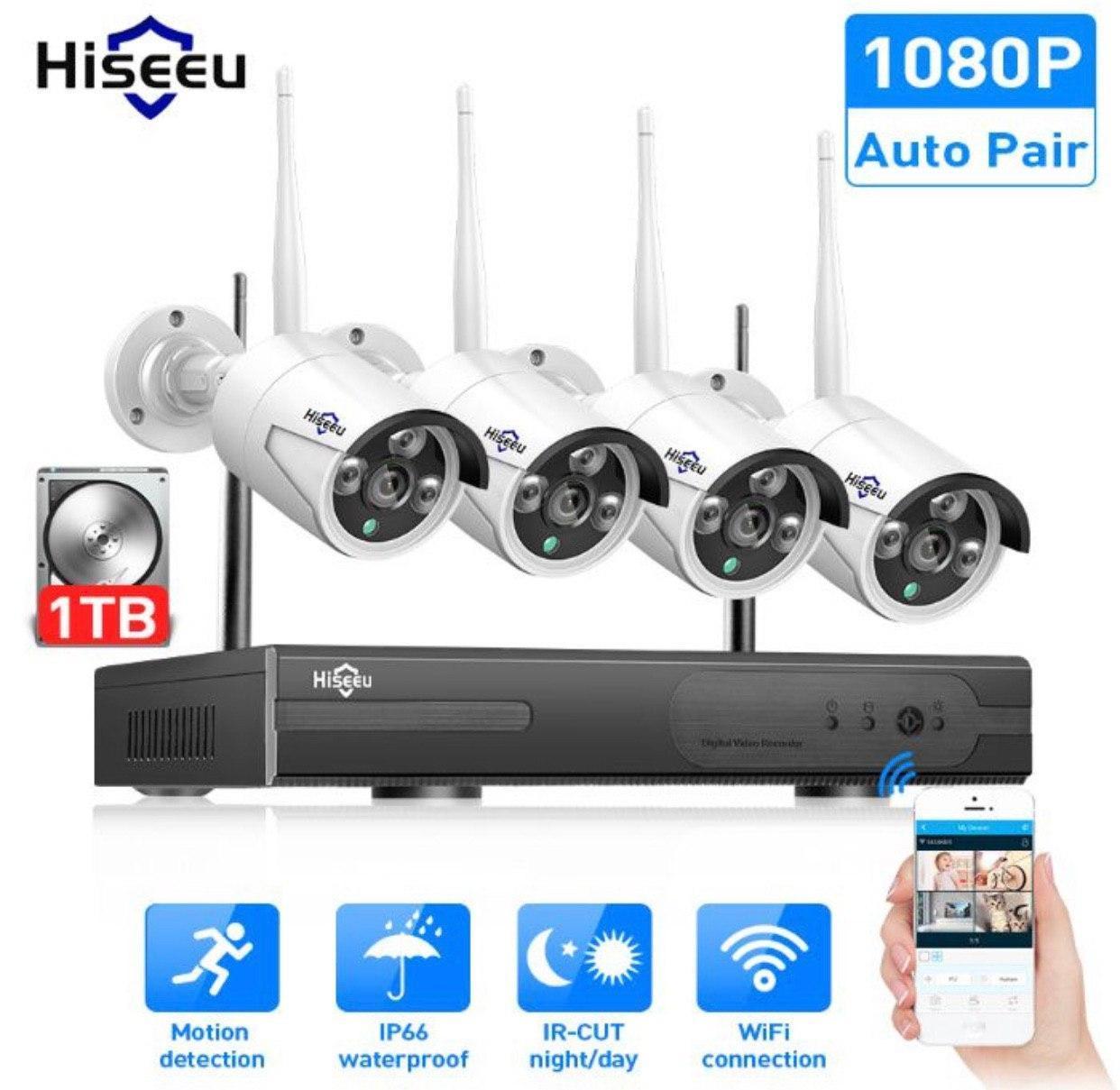 Система наблюдения Hiseeu 4 Wi-Fi камеры 1080P 8WNKIT 4HB612