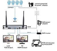 Система наблюдения Hiseeu 4 Wi-Fi камеры 1080P 8WNKIT 4HB612, фото 2
