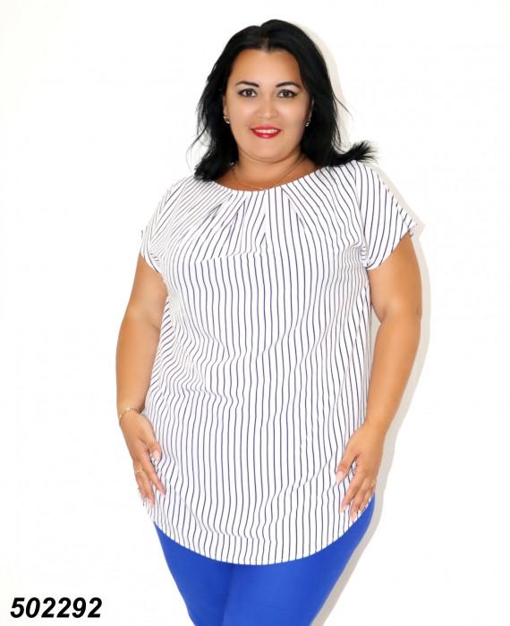 Біла жіноча Блуза-туніка,в смужку / горошок 50 52 54 56