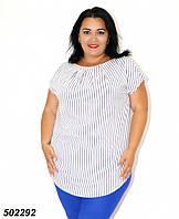Біла жіноча Блуза-туніка,в смужку / горошок 50 52 54 56, фото 1