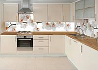 Виниловая наклейка кухонный фартук-скинали, самоклейка для кухни ReD Орхидея 02 60х250 см