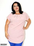 Белая женская Блуза-туника,в полоску / горошек  50 52 54 56, фото 1