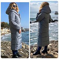 M500  Пальто - кокон зима в стиле одеяло темно-серый / серого цвета маренго
