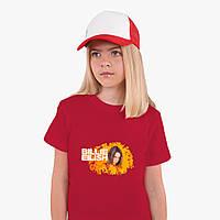 Детская футболка для девочек Билли Айлиш (Billie Eilish) (25186-1213) Красный, фото 1