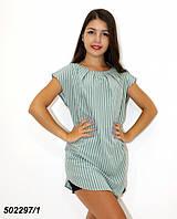 Зеленая женская Блуза-туника,в полоску / горошек 42 44 46 48, фото 1