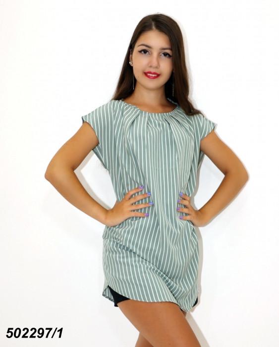 Зеленая женская Блуза-туника,в полоску / горошек 42 44 46 48