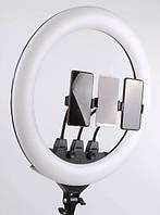 Профессиональная кольцевая LED лампа SLP-G500 с 3 держателями, пульт, чехол, диаметр 45 см, 220V.