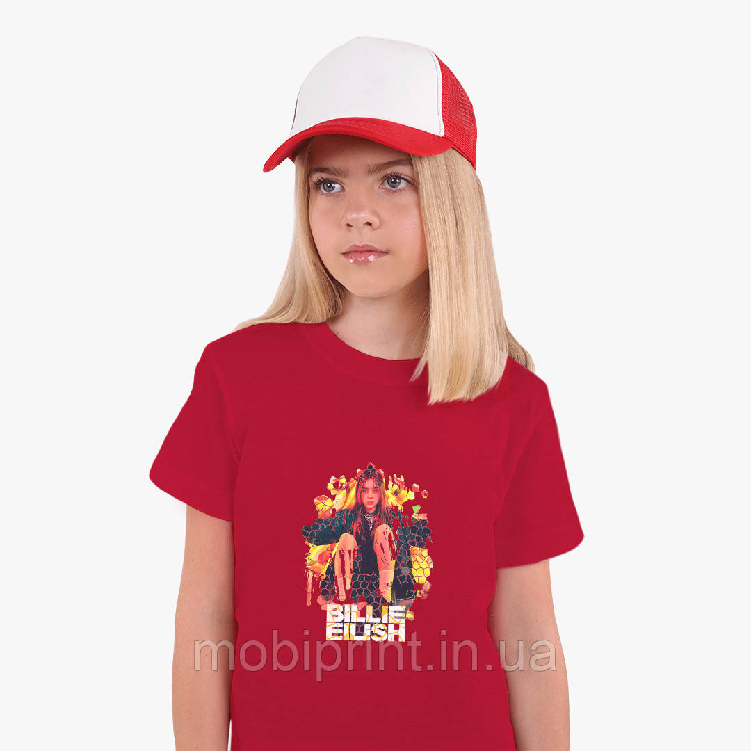 Детская футболка для девочек Билли Айлиш (Billie Eilish) (25186-1212) Красный
