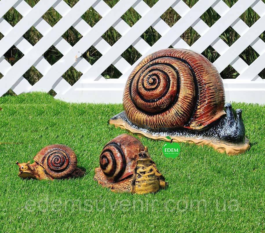 Садовая фигура Улитка большая, Улитка средняя и Улитка малая