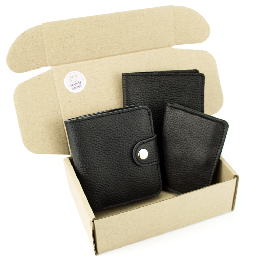 Подарунковий набір №39: Гаманець Софія + обкладинка на паспорт + обкладинка ID паспорт (чорний флотар)