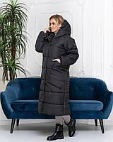 Длинная и тёплая куртка на зиму кокон в стиле oversize M500 чёрная / чёрного цвета / черный