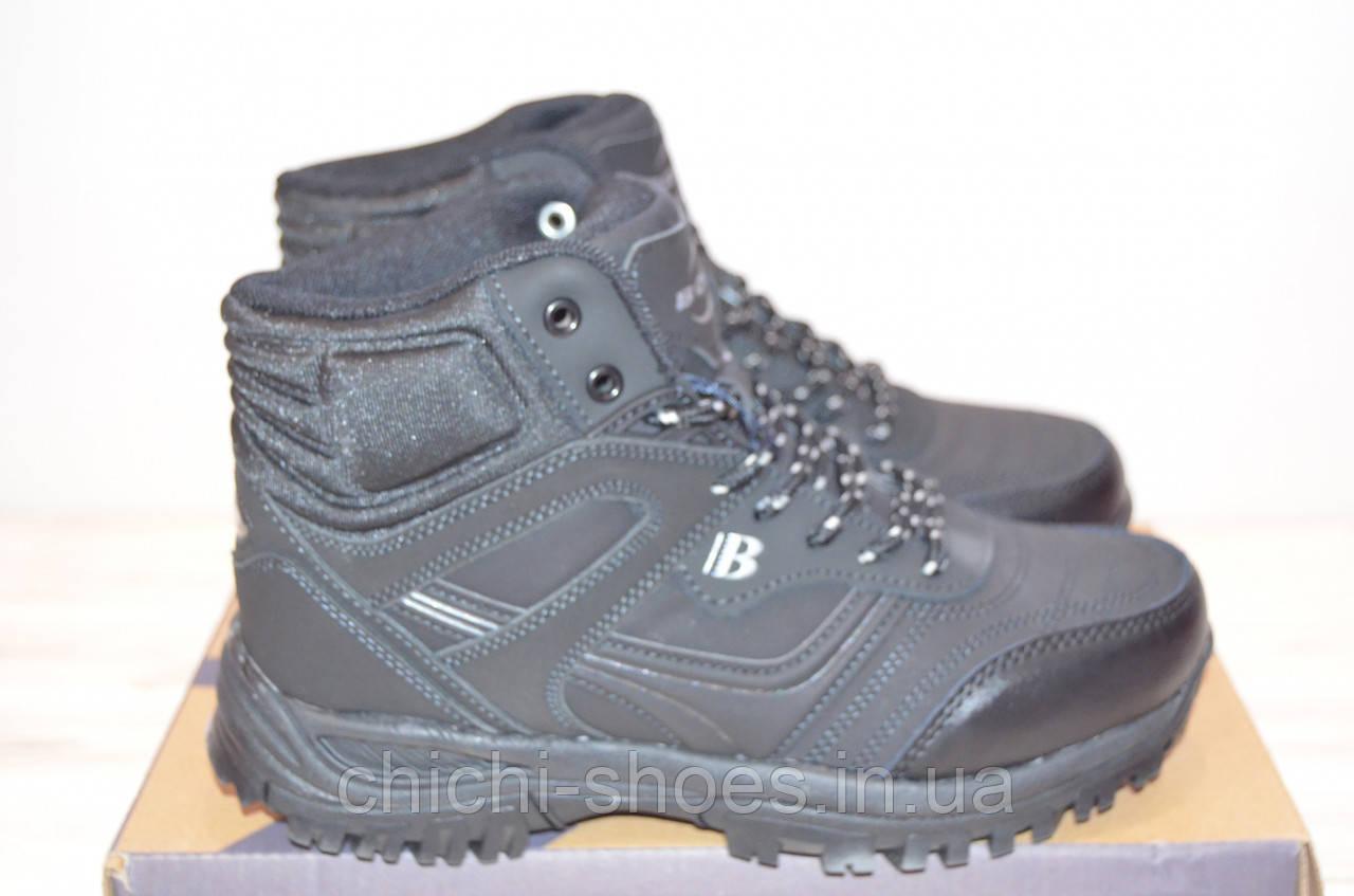 Ботинки подростковые зимние чёрные нубук BONA 760Д-2-6