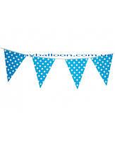 Бумажный декор флажки-банер голубые в горошек 250 см. Уп. 10 шт.