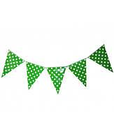 Бумажный декор флажки-банер зеленые в горошек 250 см. Уп. 10 шт.