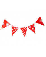 Бумажный декор флажки-банер красные в горошек 250 см. Уп.10 шт.