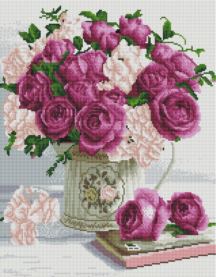 Алмазная вышивка мозаика Brushme Букет роз GF3998 40х50см картина камнями на подрамнике