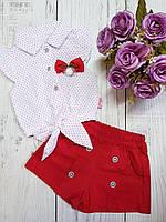 Красный легкий летний костюм для девочки 80(9-12мес.)(р) лето 00251