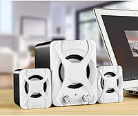 🔝 Маленькие компьютерные колонки с сабвуфером FT-X2.1 Light белые, акустическая система к ноутбуку | 🎁%🚚