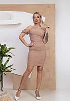 Шикарное силуэтное короткое платье 6202 (42–48р) в расцветках, фото 1