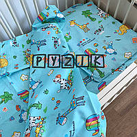 Постільний набір в дитячу ліжечко (3 предмета) Зоопарк бірюзовий, фото 1