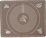Силиконовый антипригарный коврик для выпечки и раскатки теста 50x40 см Коричневый (n-655), фото 2