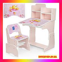 Детская парта со стульчиком Растишка с регулировкой высоты и наклона Мишка-балерина  B 2071-55-6(UA) розовый