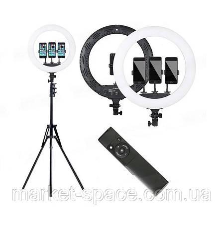 Профессиональная кольцевая лампа Ring Fill Light HQ-18N 45 см. Цвет: черный/белый, фото 2
