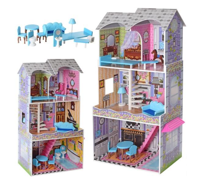 Ігровий будиночок для ляльок Барбі з меблями MD 2412, 3 поверхи, дерево