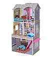 Ігровий будиночок для ляльок Барбі з меблями MD 2412, 3 поверхи, дерево, фото 5