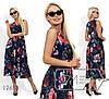 Цветное красивое летнее яркое платье на запах с цветочным принтом  (р.42-46). Арт-2878/23