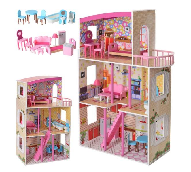 Дерев'яний будиночок для ляльок з меблями MD 2411, 3 поверхи