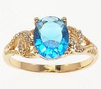 """Кільце ХР Позолота 18K """"Блакитний кристал з декоративними петельками"""" р. 17"""
