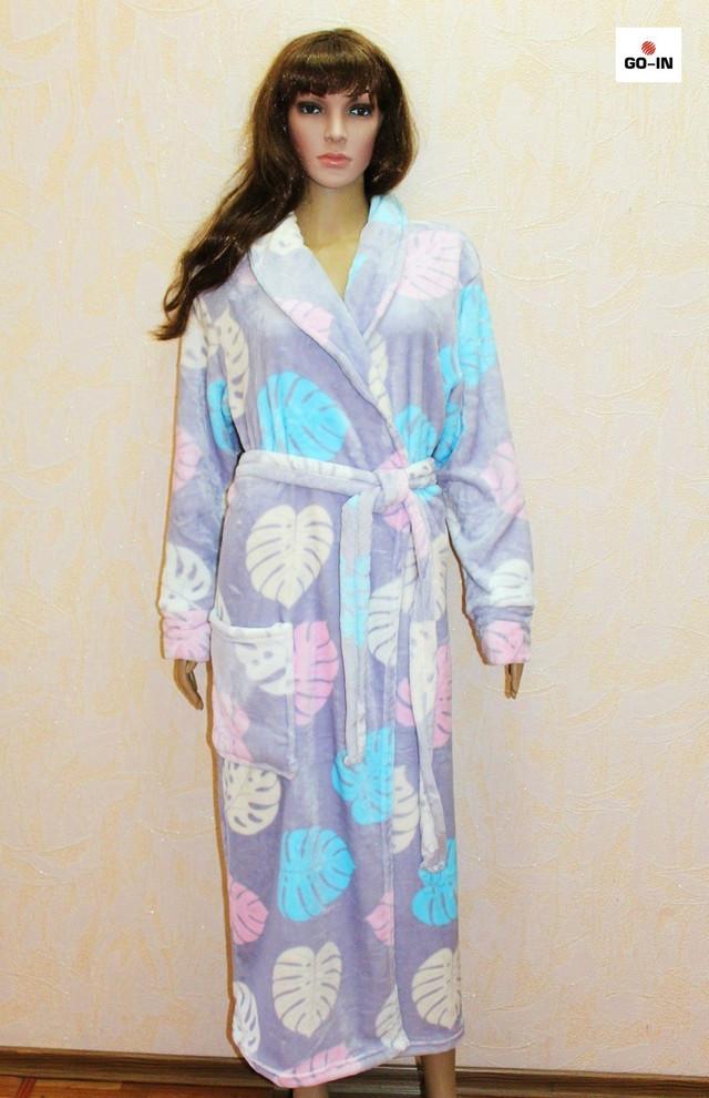 Теплий махровий халат на запах без капюшона р. 46-56