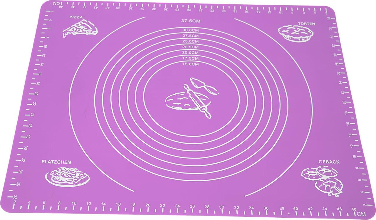 Силиконовый антипригарный коврик для выпечки и раскатки теста 50x40 см Фиолетовый (vol-656)