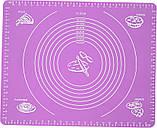 Силиконовый антипригарный коврик для выпечки и раскатки теста 50x40 см Фиолетовый (vol-656), фото 2