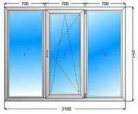 Окно металлопластиковое Steko (2100х1400) трехстворчатое ДОСТАВКА ПО УКРАИНЕ БЕСПЛАТНО!