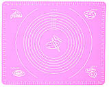 Силиконовый антипригарный коврик для выпечки и раскатки теста 50x40 см Розовый (vol-657), фото 2